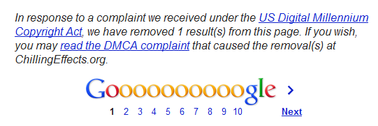 Google censorship message