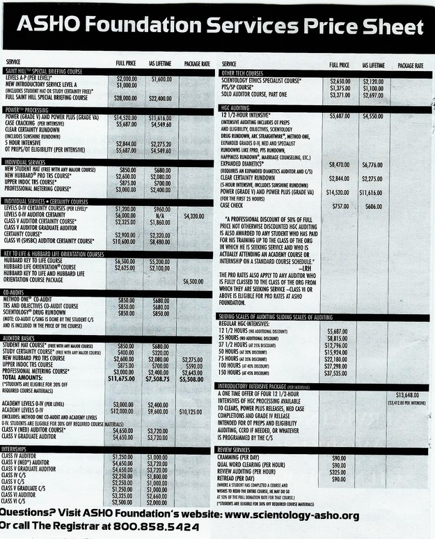 ASHO Foundation Services Price Sheet